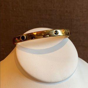 MONET vintage gold bangle black enamel detail